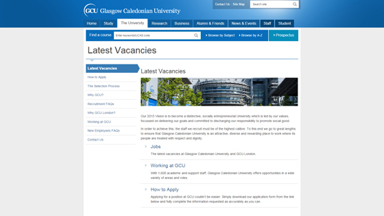 Glasgow Caledonian University for teaching jobs in Glasgow