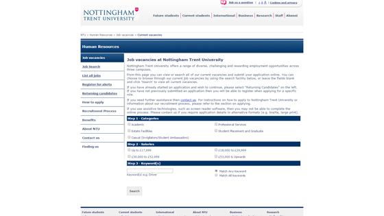 Nottingham Trent University for teaching jobs in Nottingham