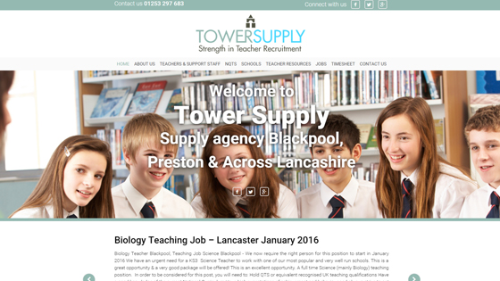 Tower Supply Ltd for teaching jobs in Lancashire